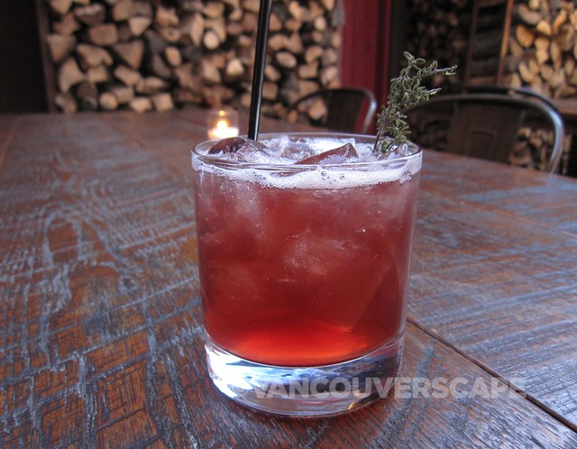 Bootlegger's Dirty South: House-infused blueberry bourbon, bonal, lemon, demerara syrup, figgy pudding bitters