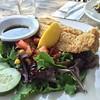 Fried catfish & green salad at Delta Cafe. Yum!