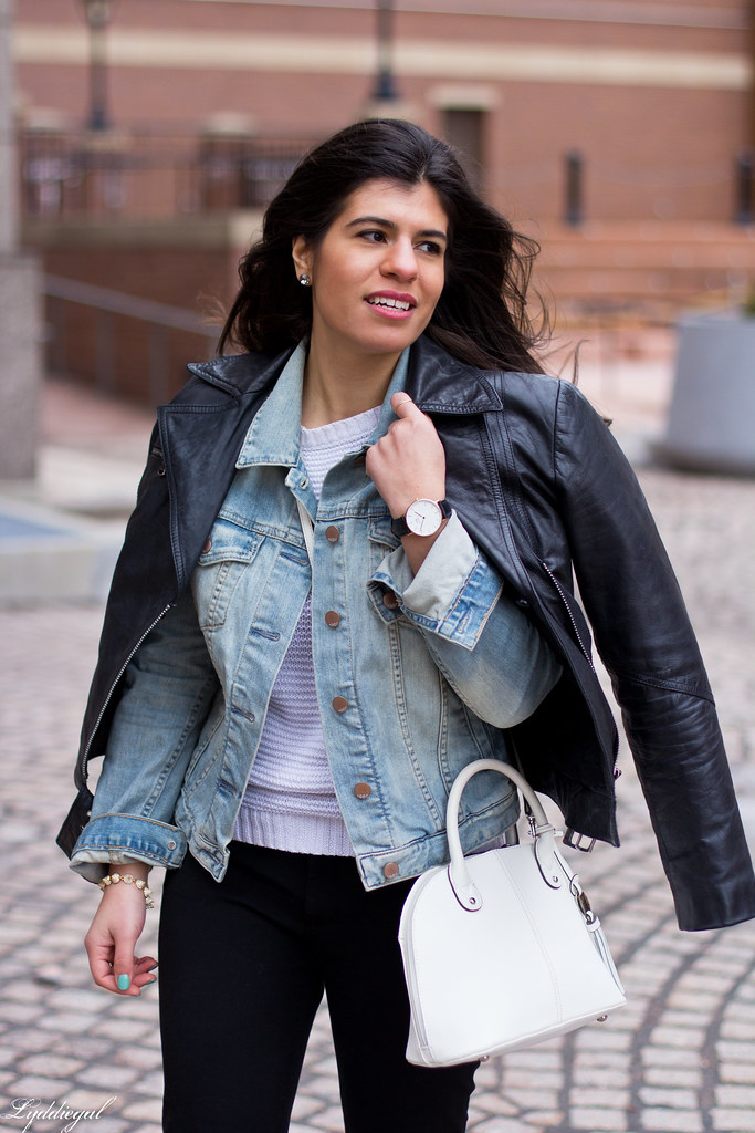 Leather jacket over denim jacket, mint green trainers-3.jpg