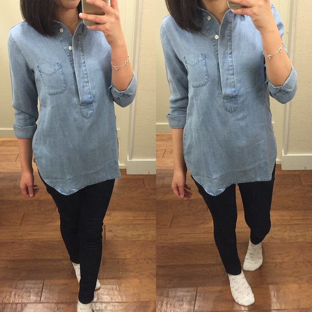 LOFT Lapeled Light Chambray Softened Shirt, size XXSP