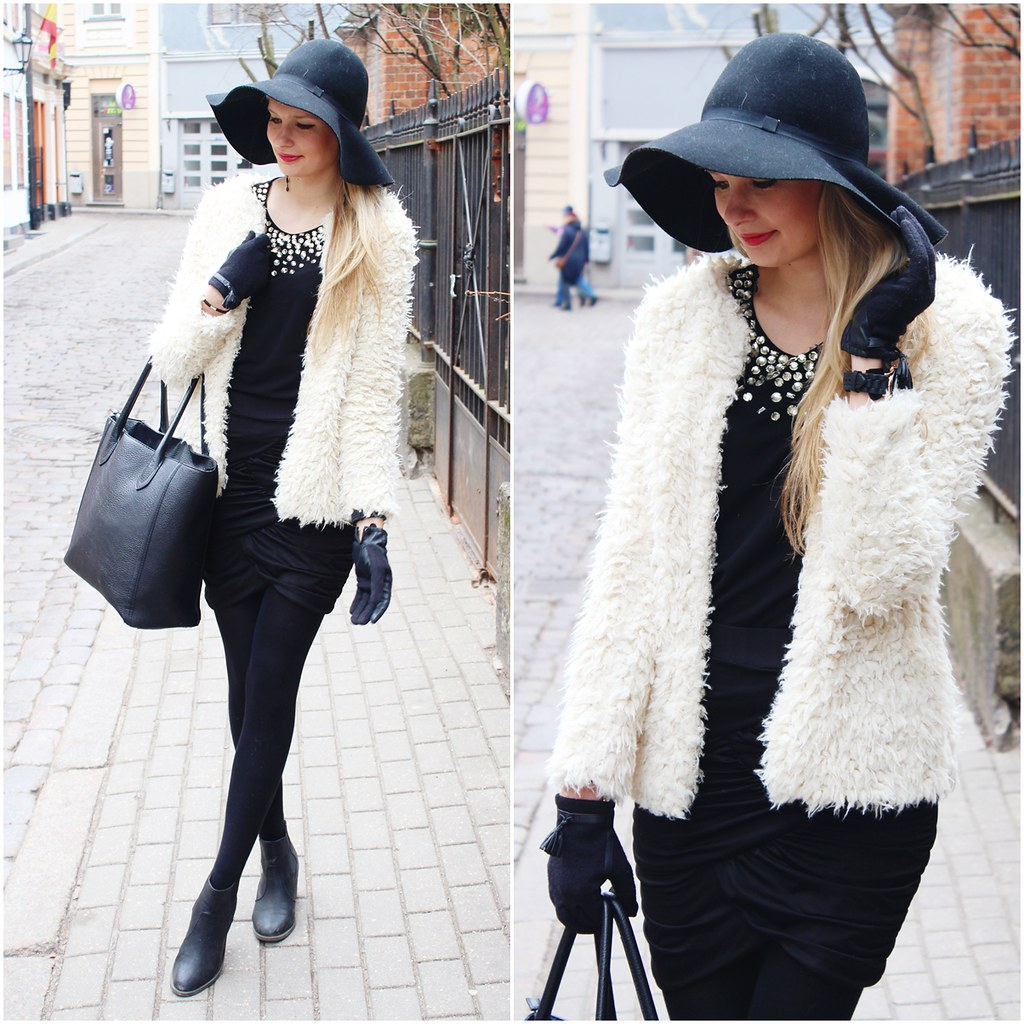white fuzzy fur jacket
