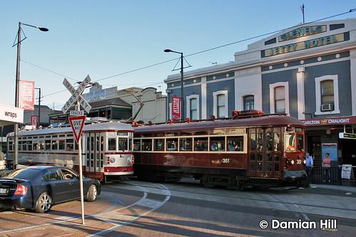 """""""H"""" Type trams 352 & 351 cross on Jetty Road"""