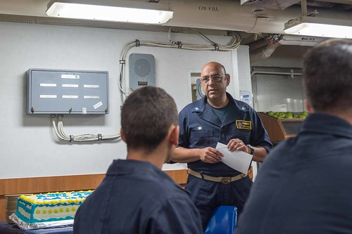 SOUTH CHINA SEA - Capt. Kurush Morris, commanding officer of Ticonderoga class guided-missile cruiser USS Shiloh (CG 67) speaks with his crew during a commemoration event for the Battle of Shiloh, for which the ship is named.
