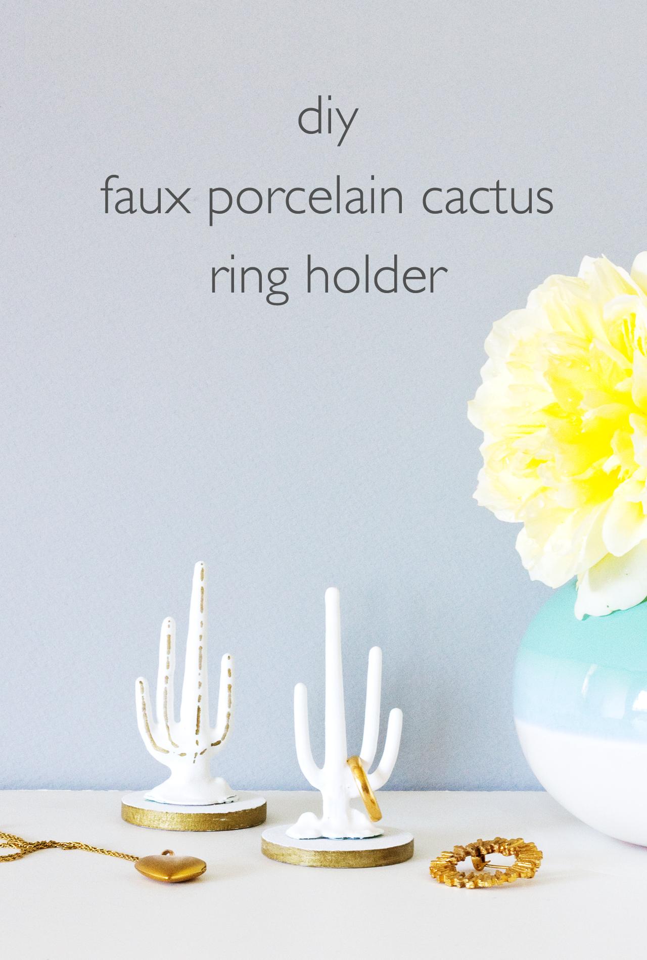 DIY Faux Porcelain Cactus Ring Holder