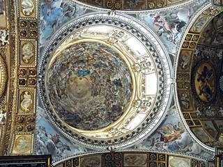 """The Four Evangelists"": fresco (about 1638) by Giovanni Lanfranco (Parma 1582-Rome 1647); Dome: ""The Paradise"", fresco (after 1664) by Giovan Battista Beinaschi (Turin 1636-Naples 1688) - Santi Apostoli Church - Naples"