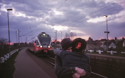 sunset red station train hug couple purple lovers together solong