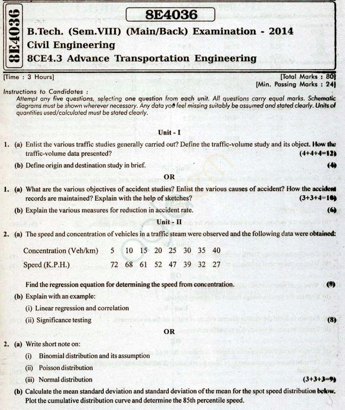 RTU: Question Papers 2014 - 8 Semester - CE - 8E4036