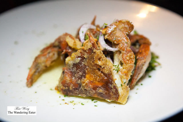 Soft shelled crab, fried Marcona almonds, red onion