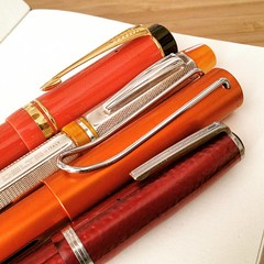 Happy pens #orange #yellow #red #lamy #delta #parker #esterbrook #fountainpens #writing #pens #fountainpen