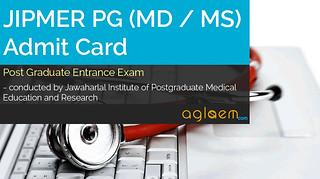JIPMER PG (MD / MS) Admit Card 2015 - Hall Ticket