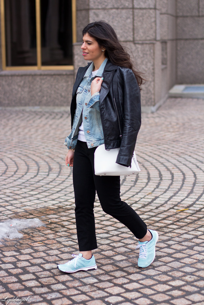 Leather jacket over denim jacket, mint green trainers-2.jpg