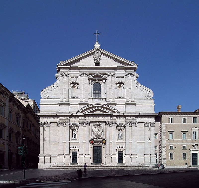 Facade of Church of the Gesù, the first church built in the baroque style
