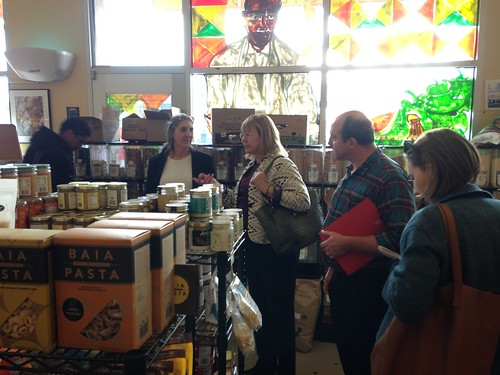 USDA Deputy Under Secretary Ann Bartuska (center) tours the Mandela Foods Cooperative run in West Oakland by Mandela Marketplace Inc., a non-profit organization that has used USDA funding to help develop the community-owned grocery store, as well as community farm stands and a food distribution program. Mandela MarketPlace's projects have brought 500,000 pounds of fresh produce into low-income West Oakland.