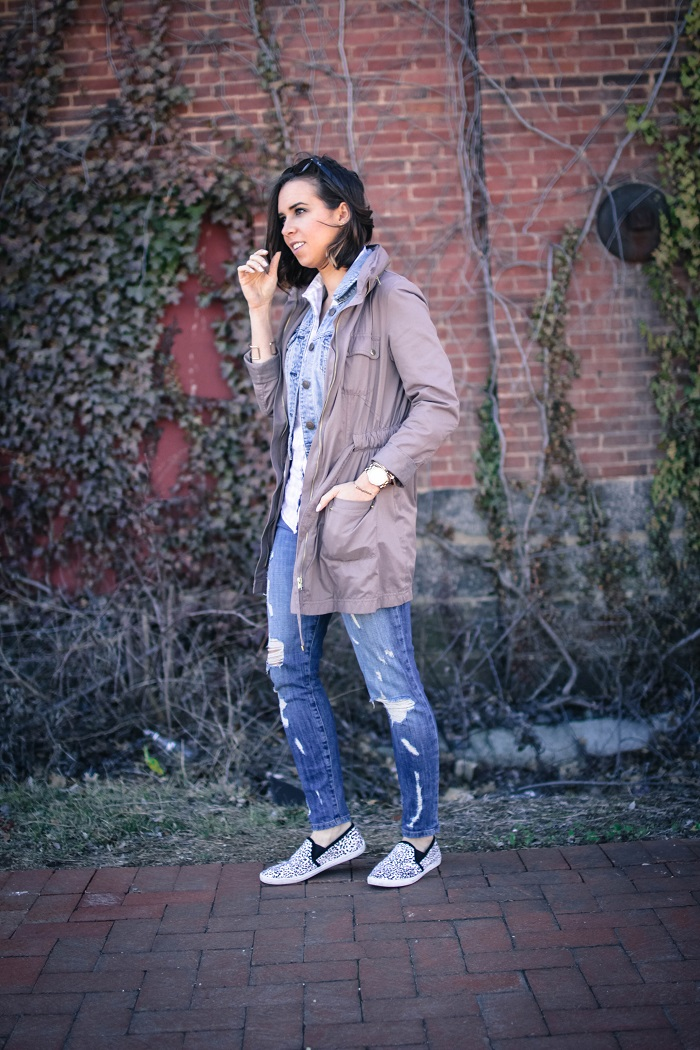 a viza style. andrea viza. fashion blogger. dc blogger. jcrew button down. current elliott stiletto jeans. joie sneakers. casual style. dc style. anorak jacket. 9