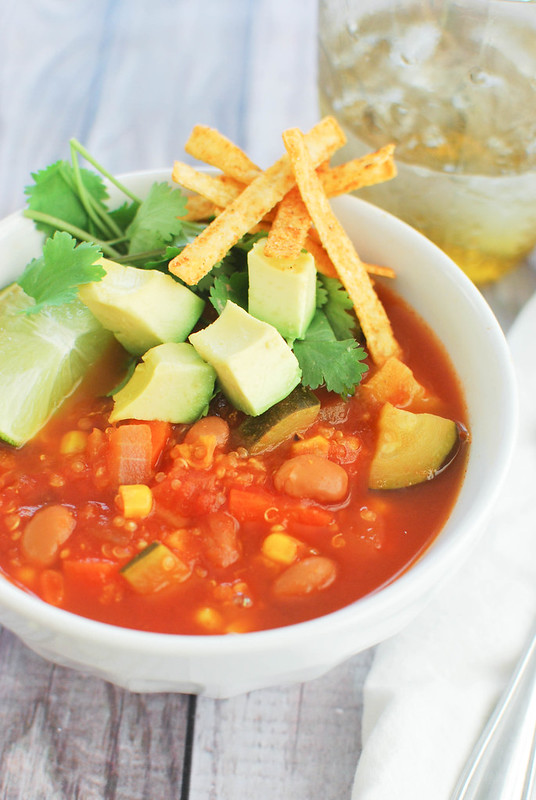 Veggie Tortilla Soup - the best soup for a chilly day! Lots of veggies and a little spice!