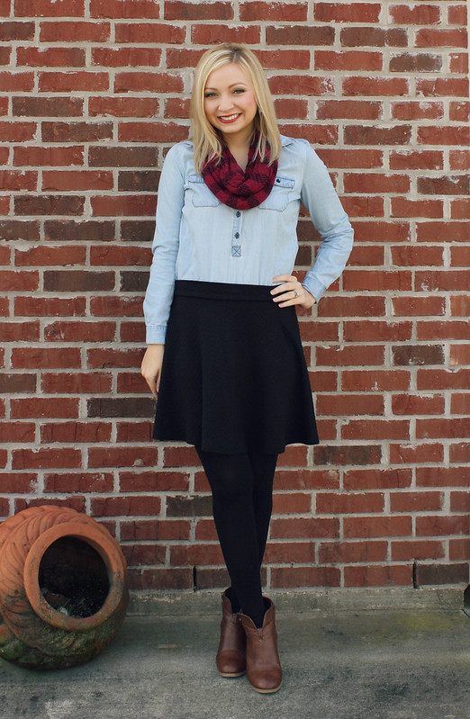 chambray + circle skirt + booties