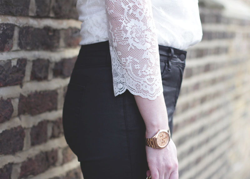 Lace Scalloped White Shirt and Black jeans, Bumpkin Betty