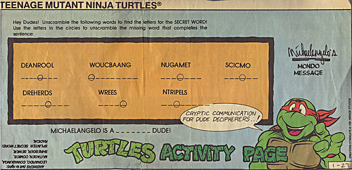 TEENAGE MUTANT NINJA TURTLES  { newspaper strip } TURTLES ACTIVITY PAGE ; ..art by Brown , Lavigne  :: 01271991