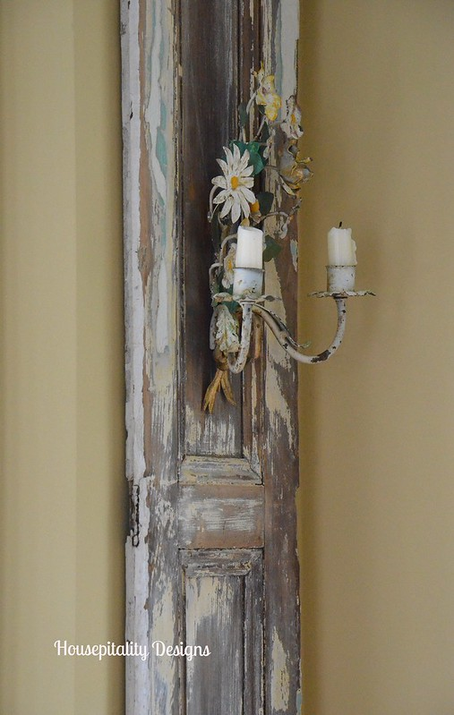 Tole Sconce on Antique Shutter-Housepitality Designs