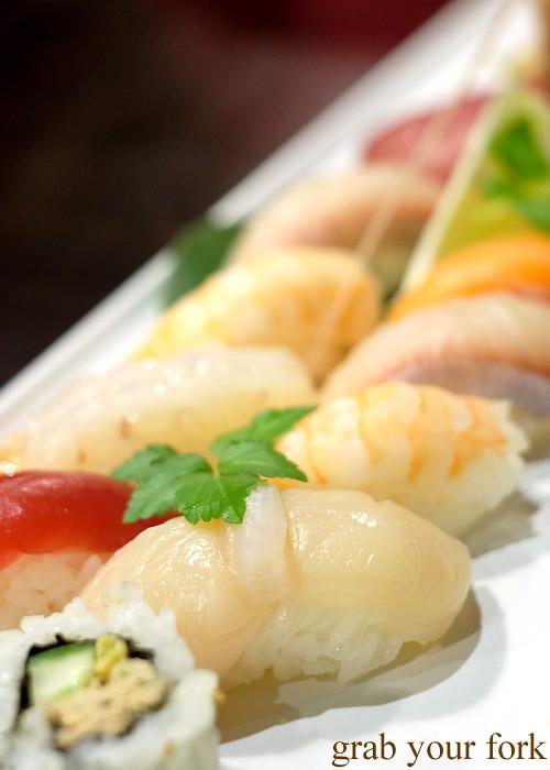 Raw scallop nigiri sushi at Ashin, Campsie