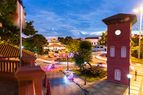 road street old city longexposure travel blue light sunset red building green tower clock tourism colors dutch yellow architecture night square town colorful asia cityscape dusk famous colonial illumination landmark scene illuminated trail malaysia destination lantern rickshaw melaka malacca touristic