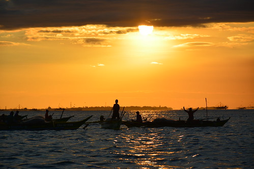 sunset red sea sky sun water clouds landscape boat nikon philippines manila