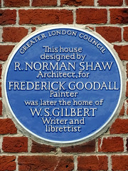 Photo of Richard Norman Shaw, Frederick Goodall, and W. S. Gilbert blue plaque