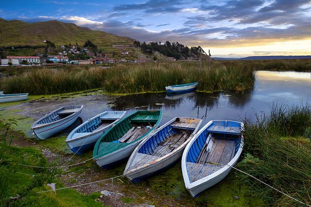 Fishing Boats At Lakeside, Lake Titicaca, Puno, Peru, South America :: 0.6S GND Lee Filter