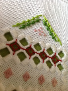 Close up of Basque knot/double knot stitch