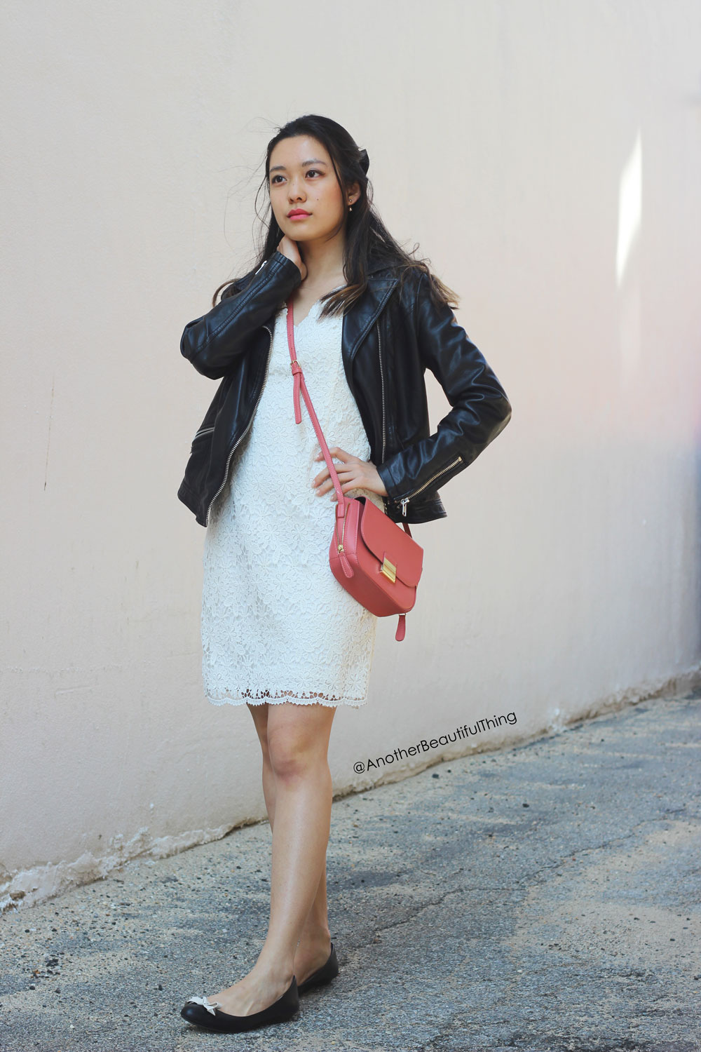 Ann Taylor Scallop Lace White Dress and faux leather jacket