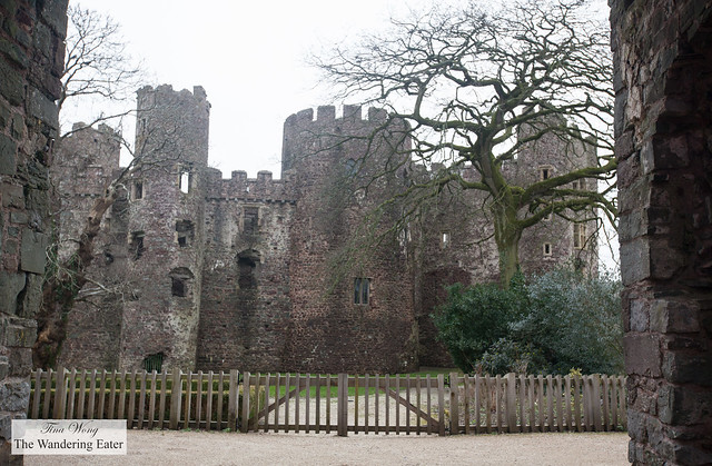 Looking through the gates of Laugharne Castle