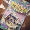 P excited to put this cool cat on my carry-on bag. Cheers @pinksfang #LDN15