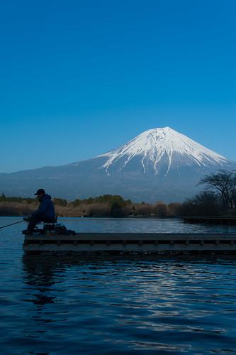 田貫湖の釣人