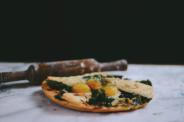 breakfast naan skillet pizza with mustard greens and paneer | A Brown Table