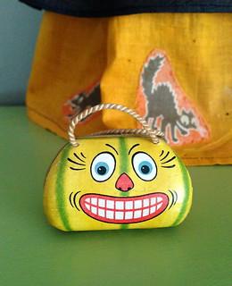 Tiny German Halloween Pumpkin Face Candy Purse Circa 1900s