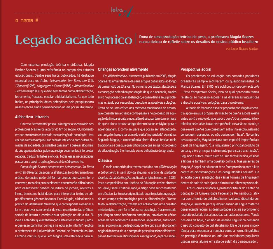 Legado Acadêmico. Letra A, p. 6 - 6, 01 dez. 2012.