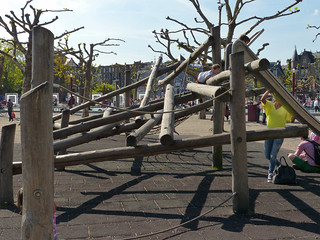 Knotted plane trees and a  wooden playground on Museumplein in Spring; Amsterdam city, 2014 - urban Nature photography