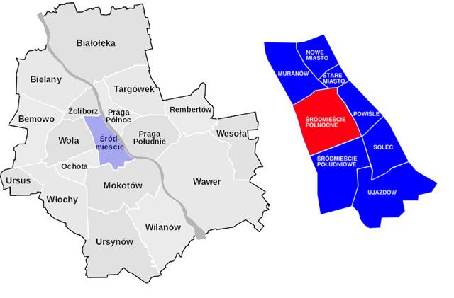 Carte du quartier Srodmiescie Nord de Varsovie.