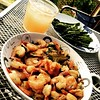 Shrimp in garlic & butter & red pepper flakes & vermouth...with roasted asparagus...with a grapefruit/gin/rosemary syrup cocktail #hantzhouse