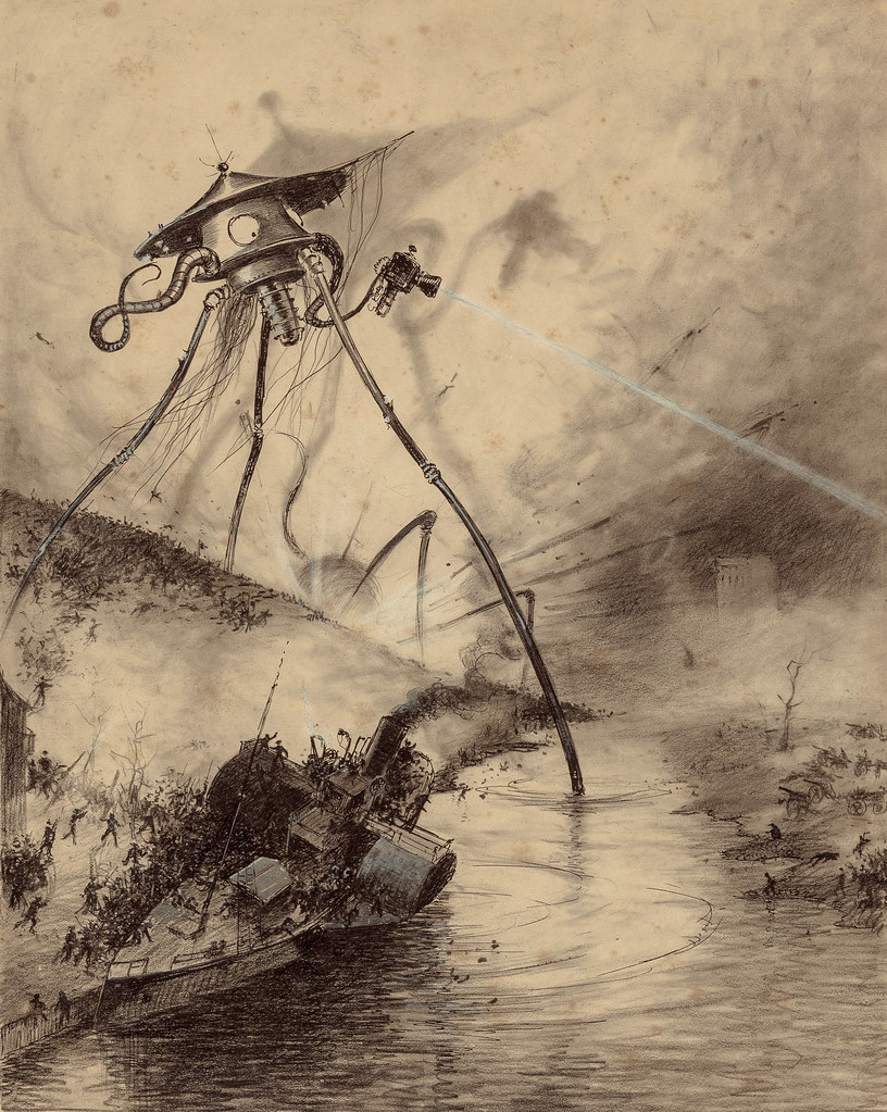 "HENRIQUE ALVIM CORRÊA - Martian Fighting Machine in the Thames Valley, from The War of the Worlds, Belgium edition, 1906 (illustration from Book I- The Coming of the Martians, Chapter XIV- ""In London,"")"