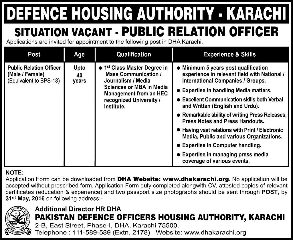 Defense Housing Authority Karachi Jobs