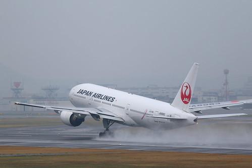 "Itami Airport 2014.4.1 (18) JA8983 / JAL's B777-200 ""PINK RIBBON JET"" with Pink Ribbon symbol logo"