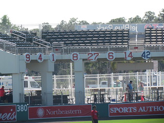 Retired Numbers in Right at JetBlue Park -- Ft. Myers, FL, March 16, 2015