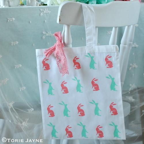 Hand printed bunny bag