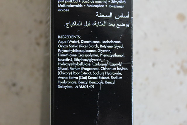 Make up for ever hydrating primer ingredients
