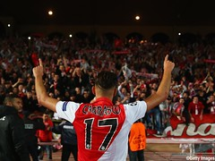 during the UEFA Champions League round of 16 second leg match between AS Monaco and Arsenal at Stade Louis II on March 17, 2015 in Monaco, Monaco.