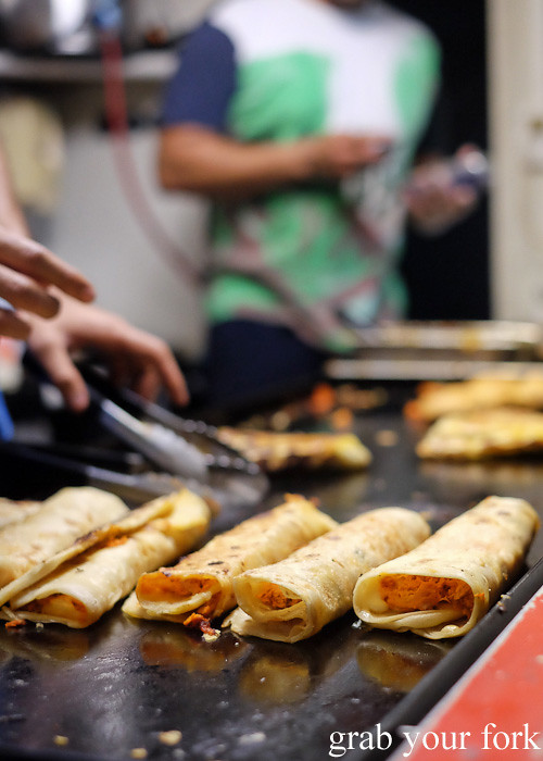 Roti wraps from Roti Bay at Wellington Night Market on lower Cuba Street