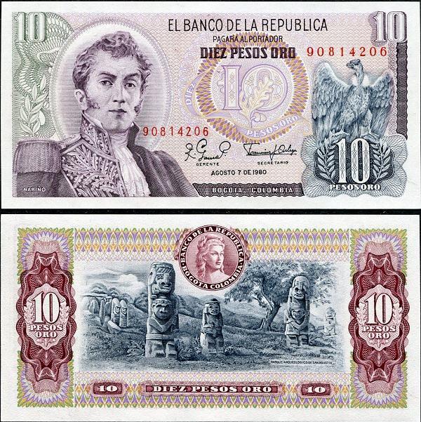 10 Pesos Oro Kolumbia 1963-80, Pick 407