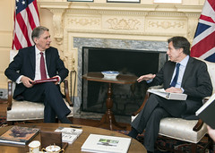 Deputy Secretary of State Tony Blinken meets with British Foreign Secretary Philip Hammond at the U.S. Department of State in Washington, D.C., on March 26, 2015. [State Department photo/ Public Domain]