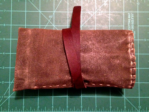 Hand-sewn waxed-canvas pipe roll pouch